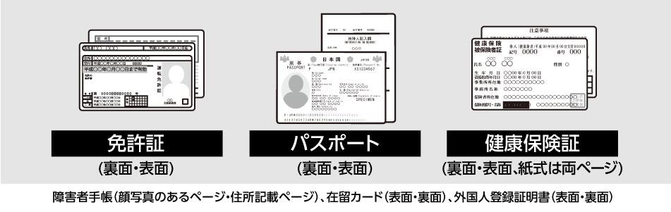 免許証・パスポート・健康保険証・障害者手帳・在留カード・外国人登録証明書